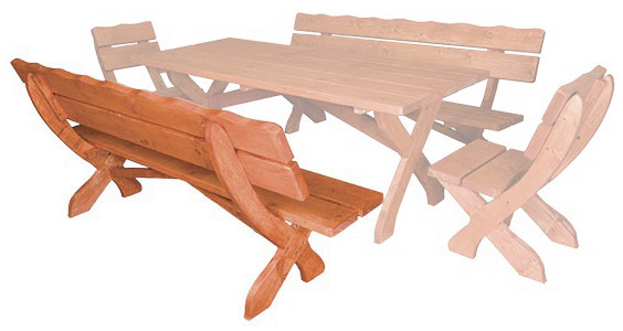 e1a017ec9a Zahradní lavice z masivního smrkového dřeva 200x80x72cm - Dub ...